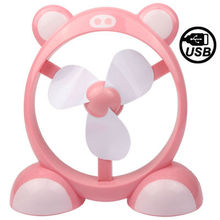 USB Powered Cute Cartoon Style 3-Blade Mini Flexible Cooling Desktop (Pink)