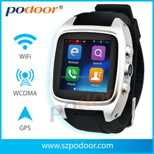 android 4.4 watch phone,3G wifi g-sensor compass bluetooth sim card TF card GPS waterproof support tf card android watch phone