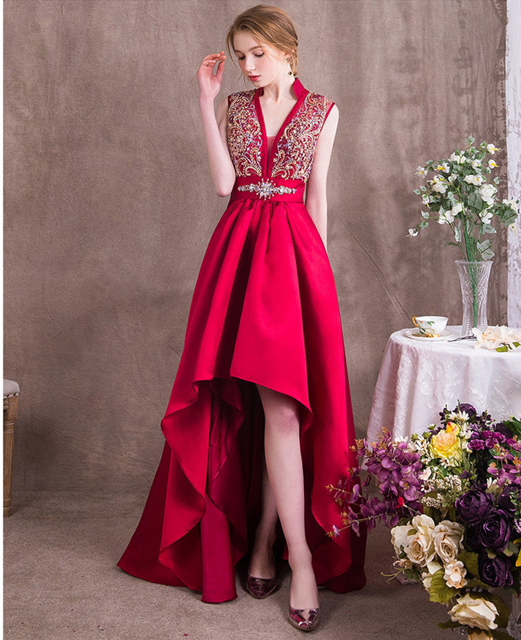 Robes de soiree Banquet Elegant Sleeveless Evening Dress Gown Red Prom Dresses A-Line Short Prom Dress Vestidos De Fiesta