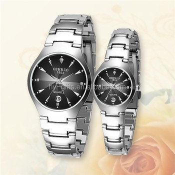 silver color alloy love watch cheap alloy couple watch with calendar