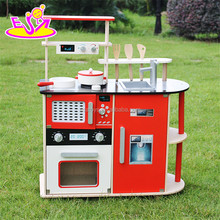 Wholesale cheap red kids pretend play wooden kitchen toy W10C211