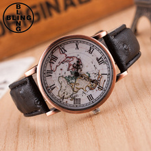 >>>Hot Sale Vintage World Map Watch Fashion Leather Alloy Women Dress Casual Analog Quartz Wrist Watch
