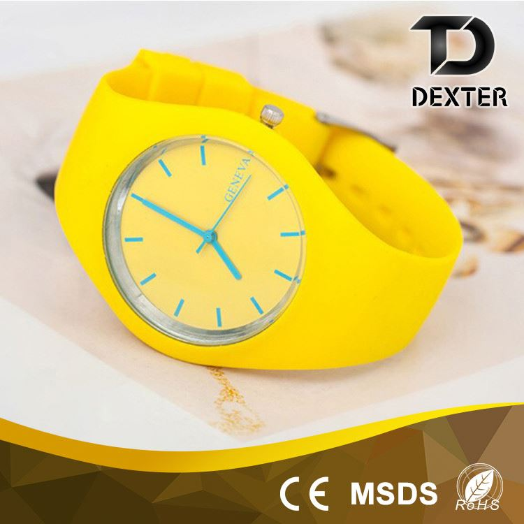 Colorful new silicone watch band lady watch silicone
