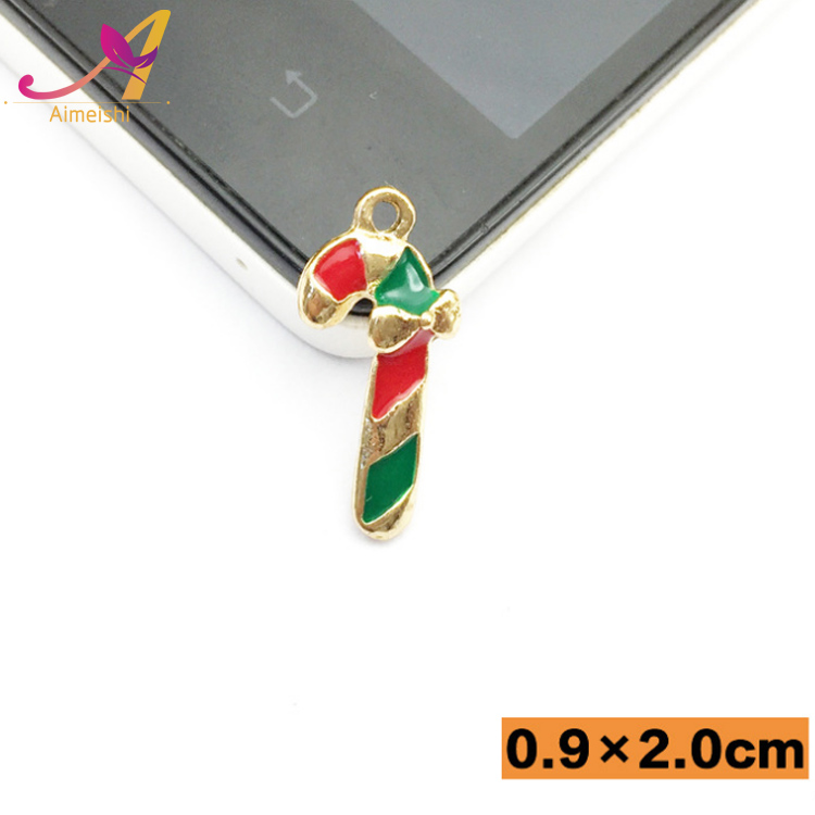New arrival !! Christmas father santa claus alloy enamel walking sticks christmas pendant charms jewelry
