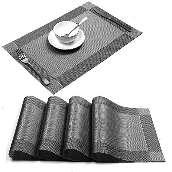 Placemat, Crossweave Woven Vinyl Non-Slip Insulation Placemat Washable Table Mats (Grey, 4pcs placemats)