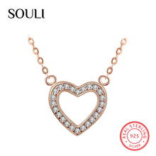 Custom Rose Gold Plated Jewelry 925 Sterling Silver Heart Pendant Necklace with CZ
