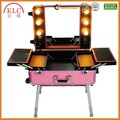 Cosmetic trolley case makeup case with lights mirror aluminum trolley for wholesale professional cases