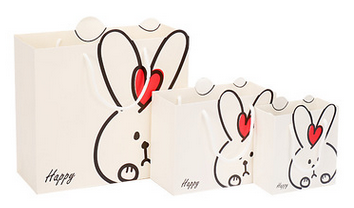 White Pink Cute Rabbit Gift Paper Packaging Bag with Handle for Kids Baby, Candy Chocolate Toy Clothes Shoes Underwear