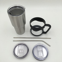 Stainless Steel Insulated Tumbler with Straight and Curved Straw