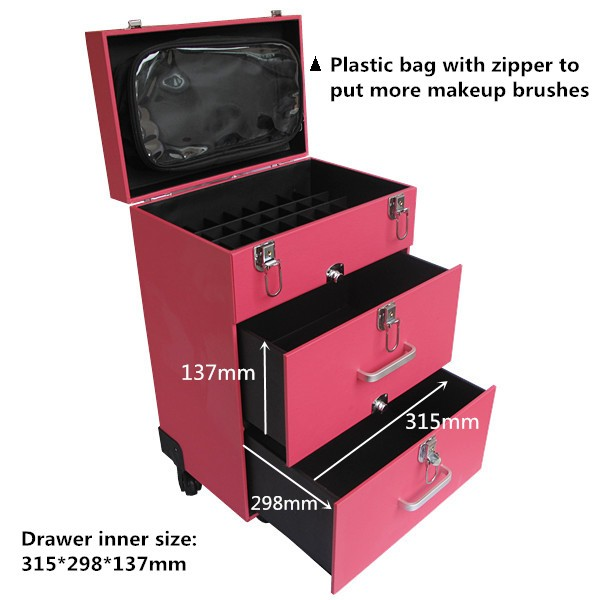 Leather Artistry 4 Wheel Rolling Makeup Nail Case
