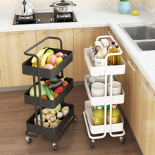 Kitchen DIY 3 layers trolley, multi-storey vegetable <strong>shelf</strong> basket movable wheeled beauty salon barber shop trolley