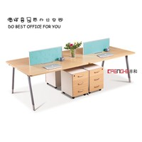 Modern Design 4 Person Office Desk, Computer Table with locking drawer ,knock down furniture office furniture
