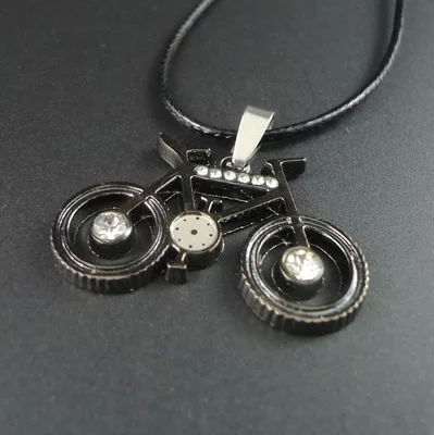 crystal silver metal bike pendant necklace sports pendant necklace jewelry