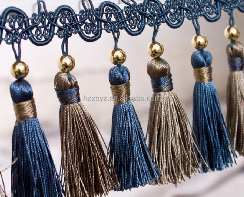 New design double color curtain tassel fringe with beads