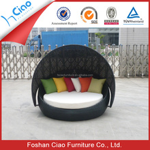 Circular rattan outdoor beach cabana beds with canopy