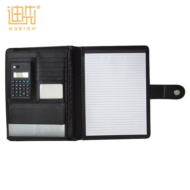 Business Portfolios Page Notebook Travel PU Compendium Folder Binder with Calculator And Card