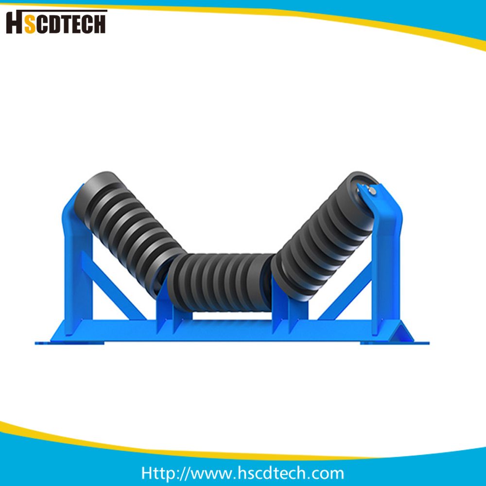 Rubber Rings Coated Conveyor Impact Roller for Material Handling Equipment