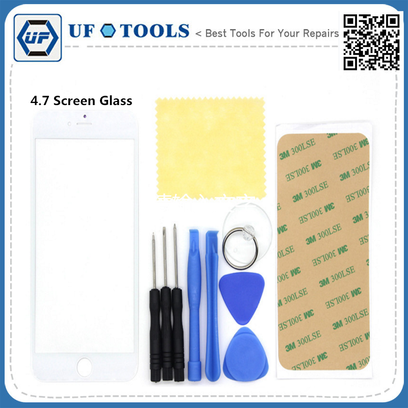 4.7 Inch White Front Screen Glass Lens Replacement upkeep Adhesive Tape screwdriver pry open repair tools for iPhone 6 6s