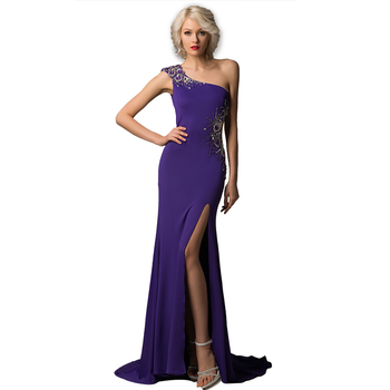 Sexy Purple Prom Dress 2018 One Shoulder Backless Side Cut Out Evening  Dresses Gown Party Wear 87110ad2aea3