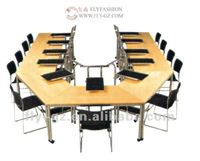 modern U-shaped wood conference desk, office furniture meeting table