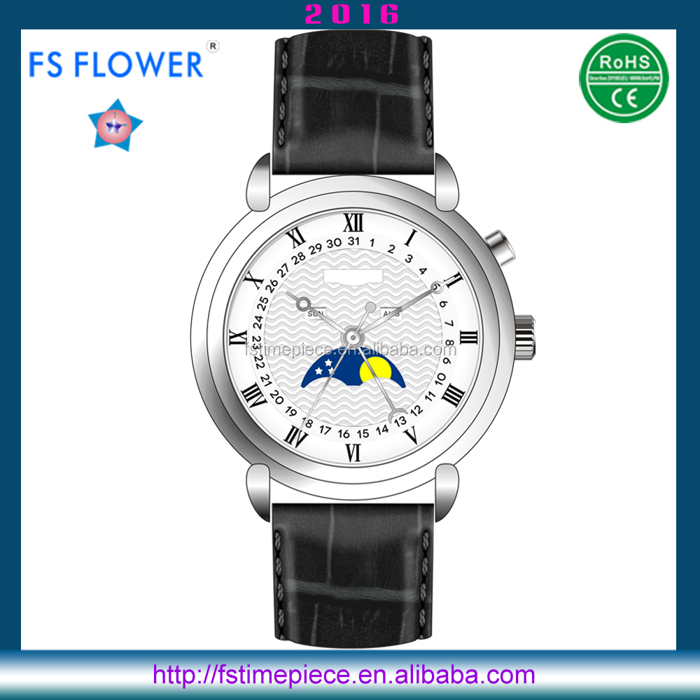 FS FLOWER - Silver Classic Case 40 mm Miyota 6P80 Moonphase Calendar Watch Quartz Mens Leather Watch