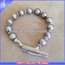 B-AB0137 Fashion jewelry 10-11mm peacock pearl beaded samoan bracelet