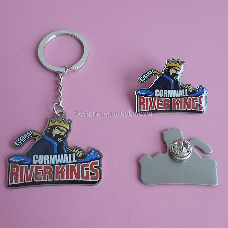 Printed Cornwall river kings metal hockey sports keychain and badges