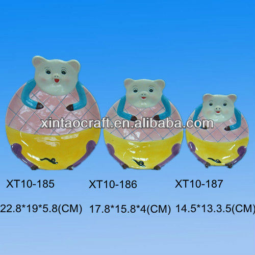 3pcs Lovely Pig Shaped Ceramic Plates