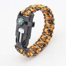 YWMT 2017 9.20 Promotio Terylene Outdoor Lifesaving Bracelet Field Survival First Aid Fire Chain Compass Flint Survival Bracelet