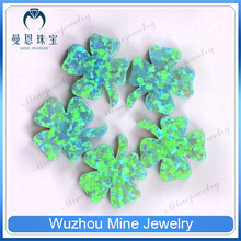 wholesale jewelry opal stone clover with stem shape green opal beads