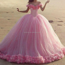 Saudi Arabic Wedding Ball Gown Off Shoulder Floral Princess Wedding Dresses Pink