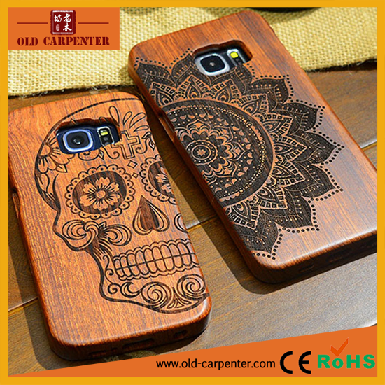 Unique design engraving pattern rose wood/bamboo cellphone protection case for Samsung S6 EDGE PLUS G9280 S7