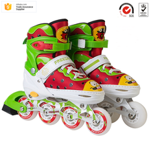 Most durable and comfortable customizable cartoon pattern adjustable wheels semi-soft vamp kids roller in-line skates shoes