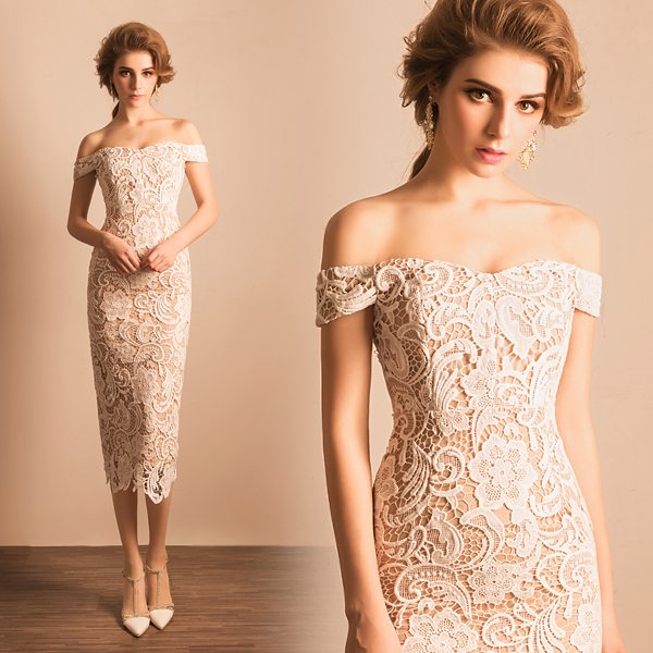 Off Shoulder Y White Lace Over Knee Dress Length Dresses The Evening Product On Alibaba
