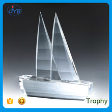 Shippment Theme and Carved Technique Custom Ship or Boat Shape Crystal Trophy