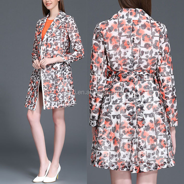 New products 2016 Spring best selling high end Europ ladies fashion printed wind coat