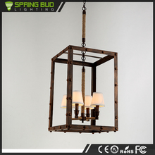 China Alibaba CE Approved Black Color and Iron Material metal cage shaped hemp rope pendant light