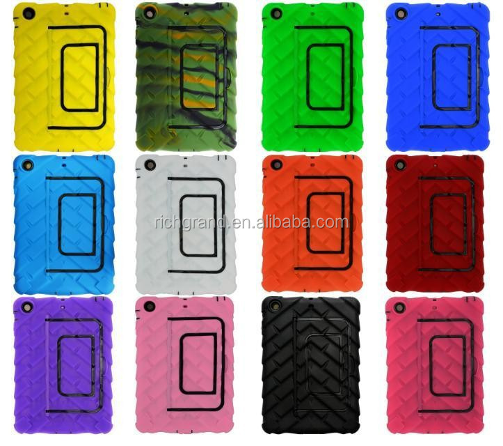 2016 Tyre style shockproof tread design silicon rubber stand case for ipad mini 2
