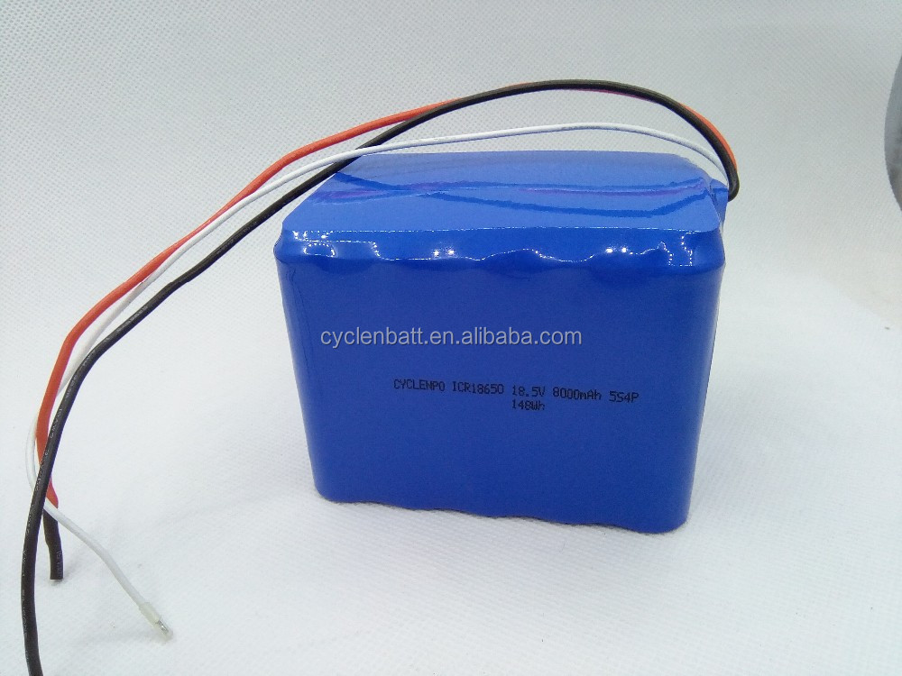 CB certificate hot sell 18.5v 5s4p 18650 8000mah Rechargeable Lithium Battery Pack Flashlight battery