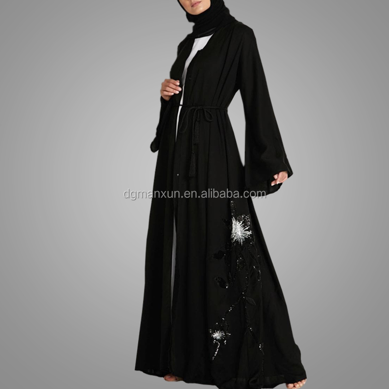 Modern Turkish Style Cheap Moroccan Jalabiya High Quality Black Abaya With Belt Open Abaya Islamic Clothing