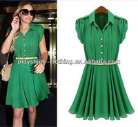 2013 European Style Ladies Elegant Chiffon Dress With Belts