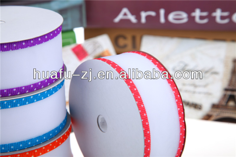 Beautiful Happy Festival Printed Grosgrain Ribbon in Color with Stripes Pattern