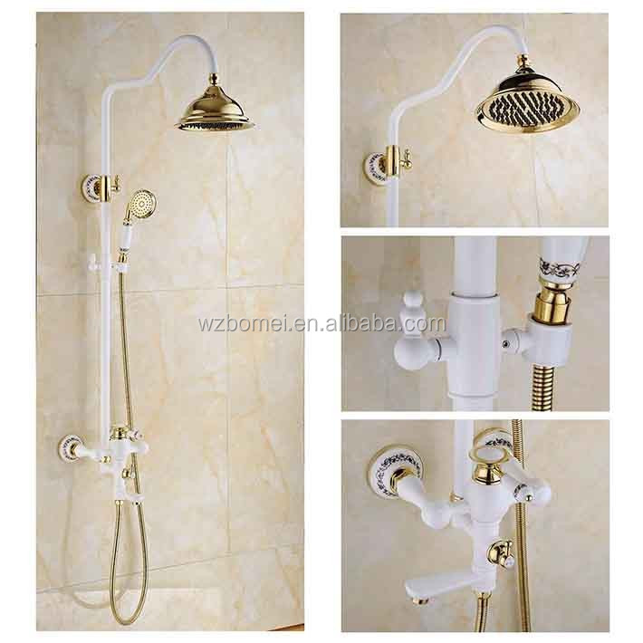 Newly US Wall Mounted White Painting Baked Bath/Shower Faucet Rainfall 8 inch Rain Shower Head With Brass Handle Shower Golden