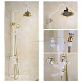 Wall Mounted Shower Faucet Rainfall 8 inch Brass Handle Shower Golden Rain Shower Head