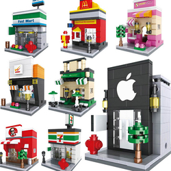 HSANHE Creative Plastic Educational Miniature Model Houses Toy building blocks For Kids