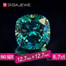 IGAJEWE Excellent quality Big Size Cutting Green Color 8.7ct Cushion Moissanite gemstone diamond For jewelry set