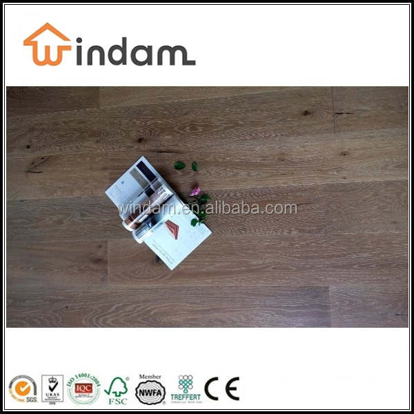 189mm Wide Oak Engineered Brushed White Washed Wood Floor