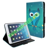 2014 Newest Wholesale Owl Pattern Leather Case with Card Slots and Holder for iPad Mini Cartoon Cover