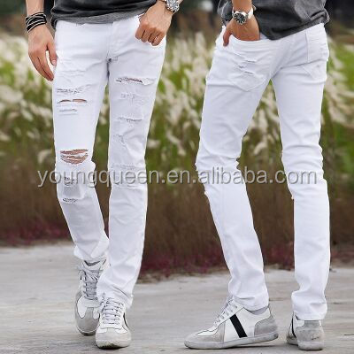 PJ13 men's fashion black and white skinny jeans Slim pencil pants