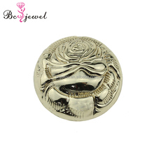 Garment ornament making Round shaped custom fashion gold plating shank metal studs dome button with logo flower for suit jacket